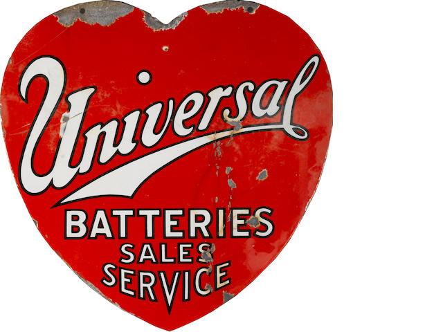 A rare Universal Batteries Sales and Service heart-shaped sign, c. 1920s,