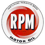 A RPM motor oil sign, c. 1950s,