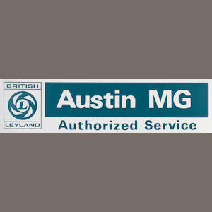 An Austin MG authorized service sign,