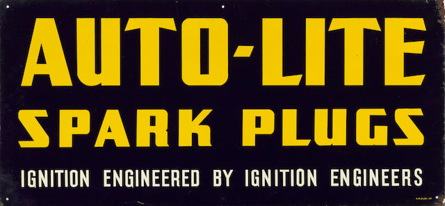 An Auto-Light Spark Plugs sign, c. 1930,