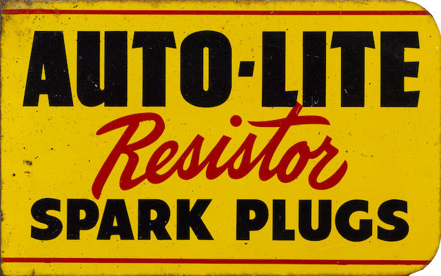 An Auto-Lite Resistor Spark Plugs flange sign, c. 1950s,