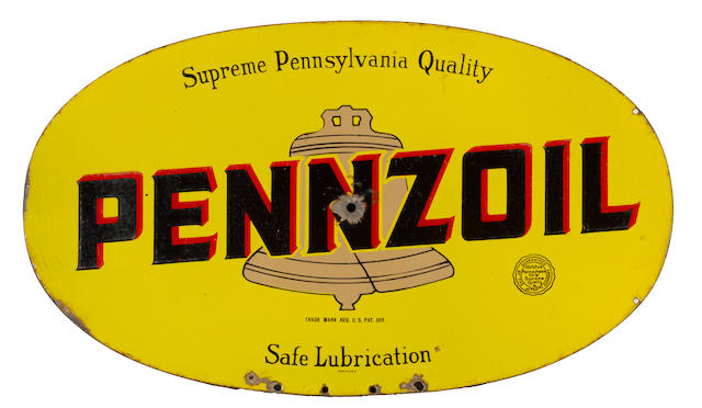 An early Pennzoil motor oil sign, c.1930s,