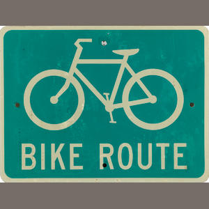 A Bike Route sign,