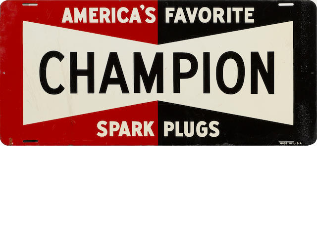 A Champion Sparkplugs sign, c.50s,