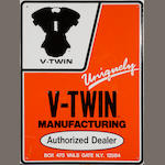 A V-Twin manufacturing sales and service sign,