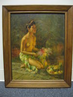 Fernando Amorsolo Y Cueto (1892-1972)  Young Woman with Fruits and Flowers