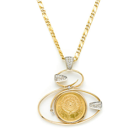 A 20 peso gold coin, diamond and 14k bicolor gold pendant with a gold chain