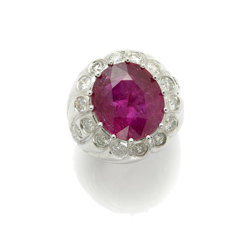 A pink tourmaline, diamond and 14k white gold ring