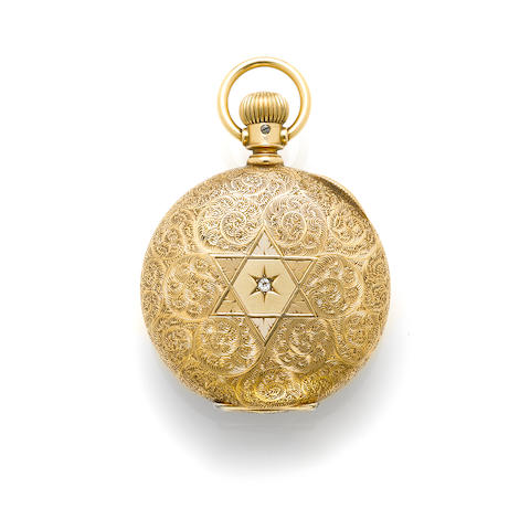 A diamond and 14k gold pocketwatch