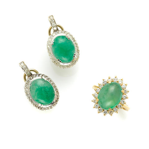 A pair of jade and diamond earrings together with a ring