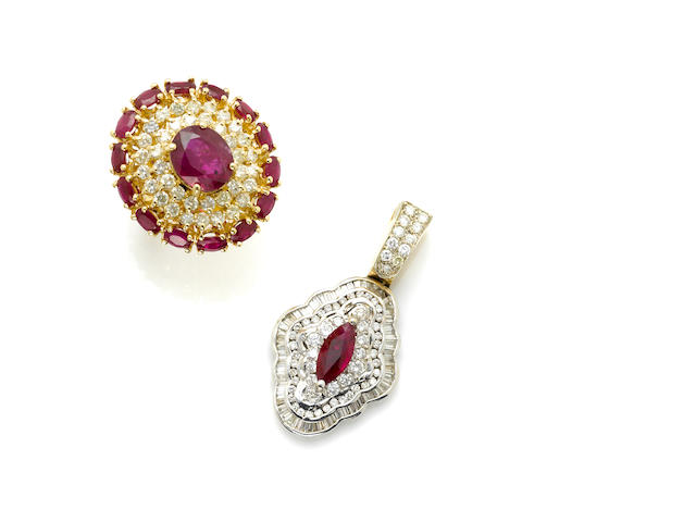 A red stone (glass filled ruby), diamond and gold ring with a synthetic, diamond and gold pendant