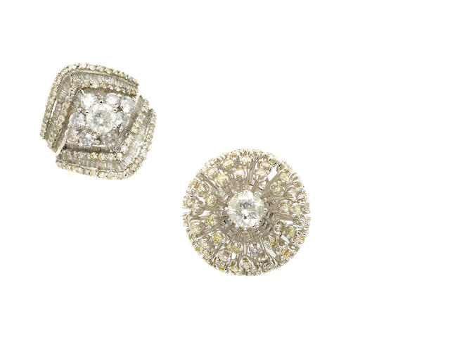A collection of two diamond and white gold cluster rings