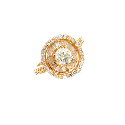 A 0.80ct. diamond and gold ring