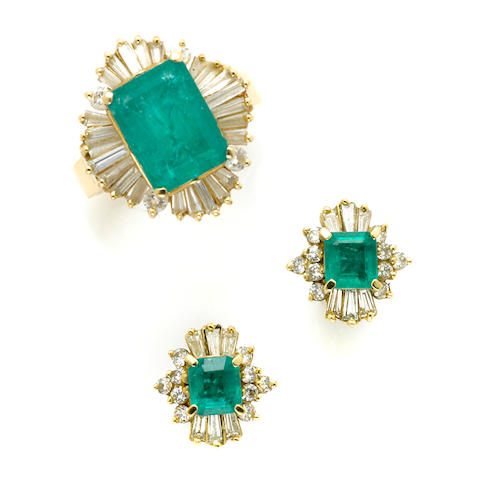 A collection of emerald, diamond and gold jewelry; comprising a pair of earrings and a ring