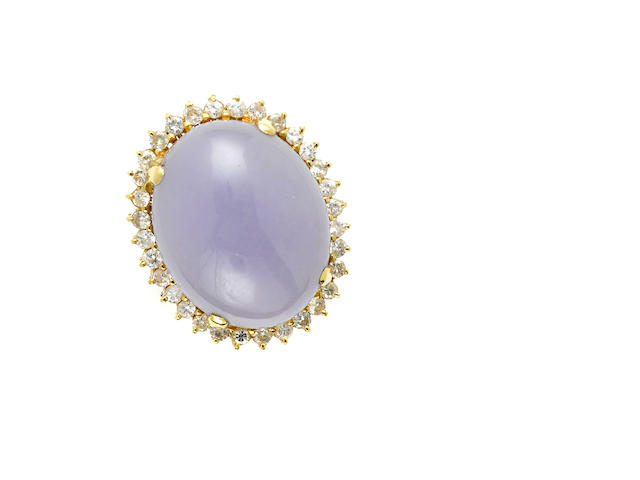 A lavender jade, diamond and gold ring