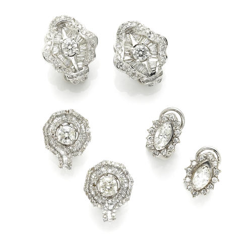 A collection of three pairs diamond and white gold earrings