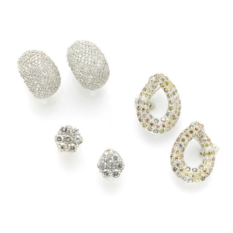 A collection of diamond and colored diamond jewelry
