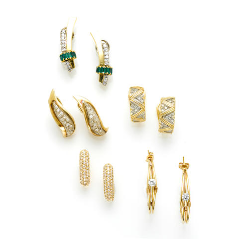 A collection of five pairs of diamond and gold earrings