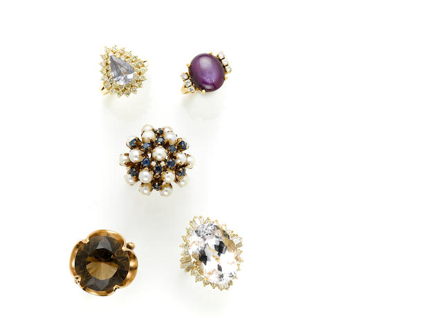 A collection of gem-set, diamond and gold rings