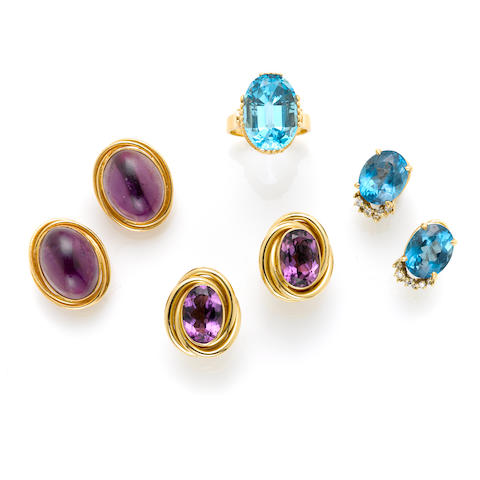 A collection of topaz, amethyst, diamond and gold jewelry