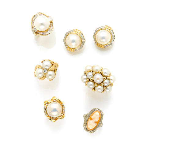 A collection of cultured pearl, diamond, cameo and gold rings with a pair of earrings