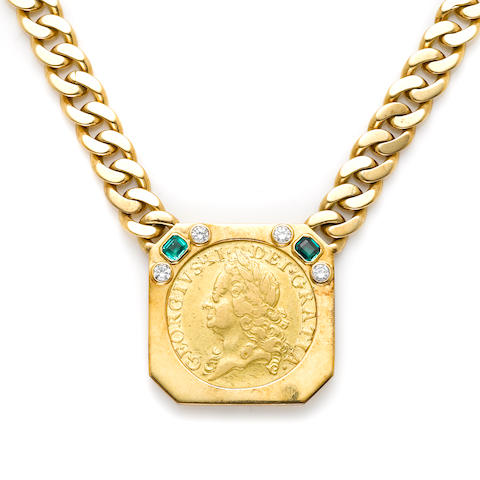 A green stone, diamond, gold coin and 18k gold necklace