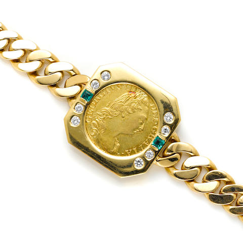 A gold coin, diamond, emerald and 18k gold bracelet