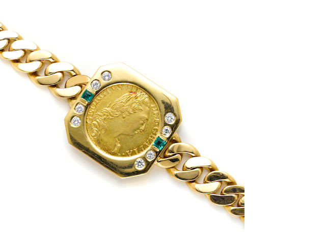 A diamond, green stone, gold coin and 18k gold bracelet