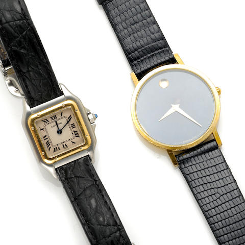 A sterling silver and gold ladies wristwatch, Cartier together with a gold men's wristwatch, Movado ref 37-33-882; accompanied with a signed Cartier box and papers and a signed Movado box