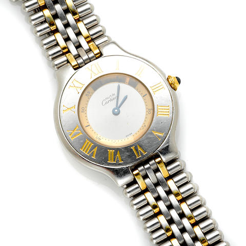 A stainless steel and gold wristwatch, Cartier ref #133p21