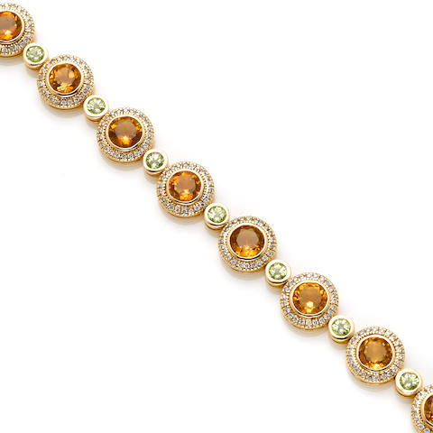 A citrine, peridot, diamond and 14k gold bracelet