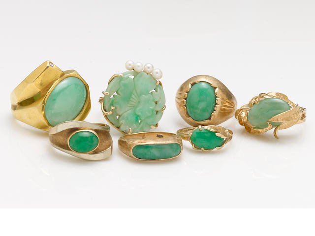 A collection of 7 jade, seed pearl, diamond and 14k gold rings