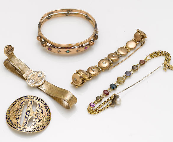 A collection of diamond, cultured pearl, gem-set, enamel and various karat gold jewelry
