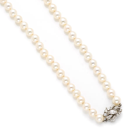 A cultured pearl, diamond and white gold necklace
