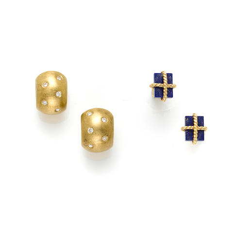 Two pairs of diamond, lapis lazuli and gold earrings