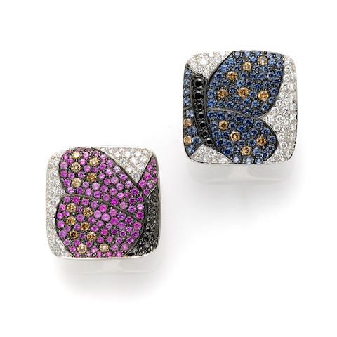 A pair of pink sapphire, sapphire, diamond, colored diamond and 18k white gold square earclips