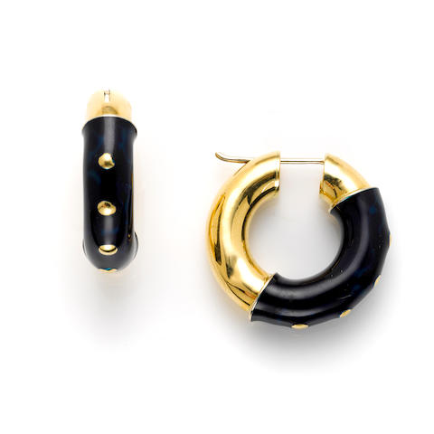 A pair of enamel and 18k gold hoop earrings
