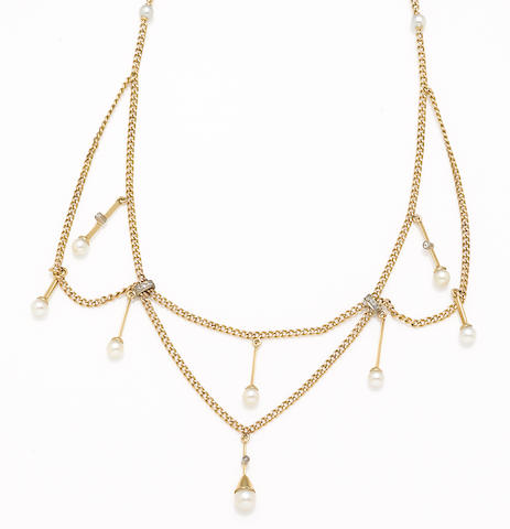 A cultured pearl, diamond and 18k gold necklace