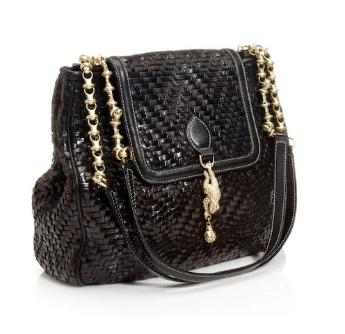 A Kieselstein-Co​rd black woven leather 'Frog' handbag