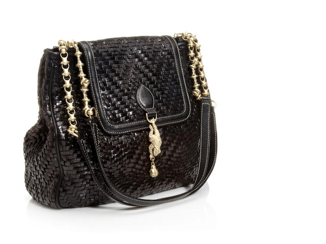 A Kieselstein-Co​rd black woven leather handbag, with frog pendant detail