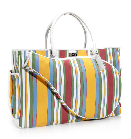 A Lambertson Truex striped canvas and leather tote bag
