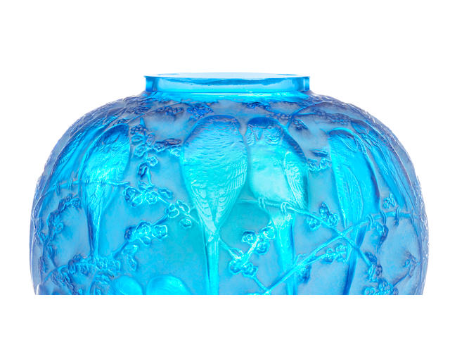 A René Lalique molded blue glass vase: Perruches (Marcilhac 876), model introduced 1919