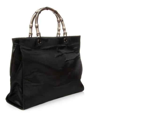 A Gucci black satin handbag