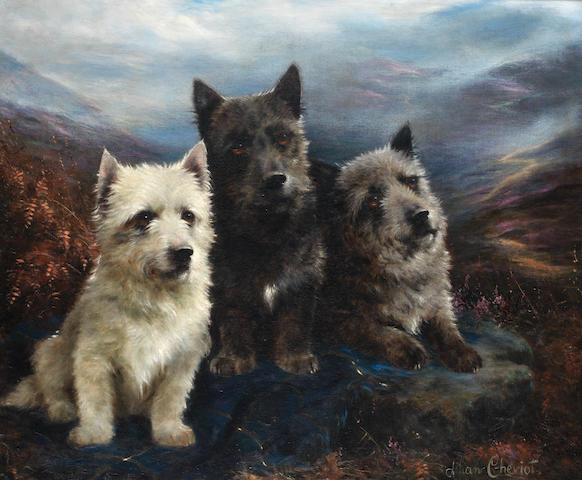 Lilian Cheviot (British, active 1894-1930) 'Wee three' - A West Highland White Terrier, a Scottish Terrier and a Cairn Terrier