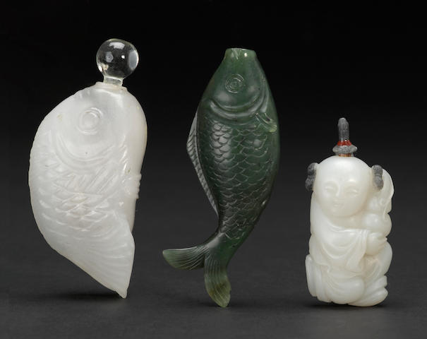 Three hardstone snuff bottles