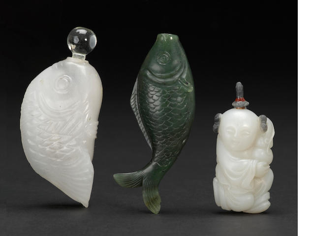 Three hardstone snuff bottles 1840-1900