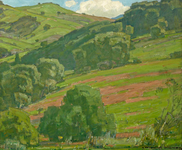 William Wendt (American, 1865-1946) Trees along the foothills 25 x 30in
