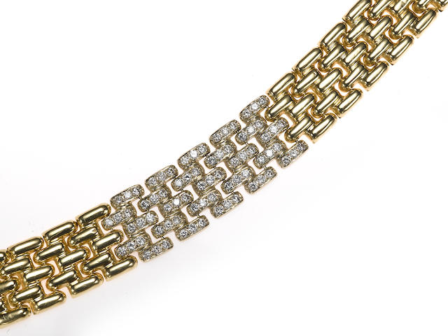 A diamond and 14k gold brick link bracelet
