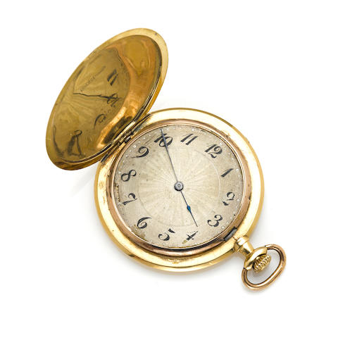 An 18k gold hunting cased pocket watch, Swiss