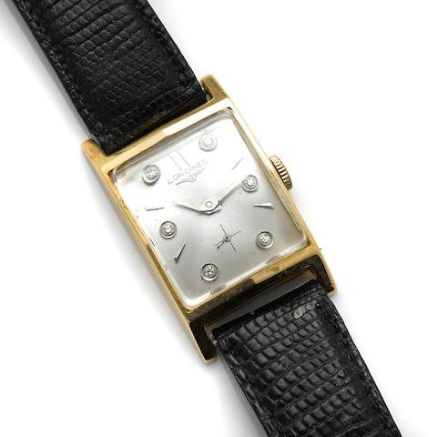 A 14k gold and diamond strap wristwatch, Longines